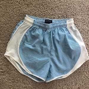 Blue & cream Lauren James seersucker shorties